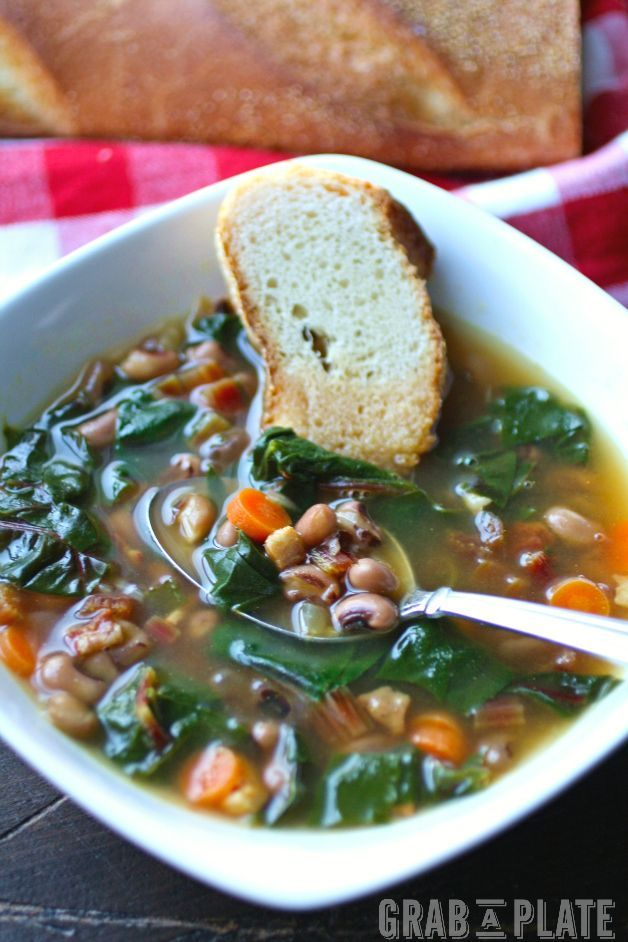 Black-Eyed Pea & Swiss Chard Soup with Pancetta is perfect to usher in the new year (and it's delightful, too)!