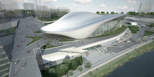 The London Aquatics Centre by Zaha Hadid.