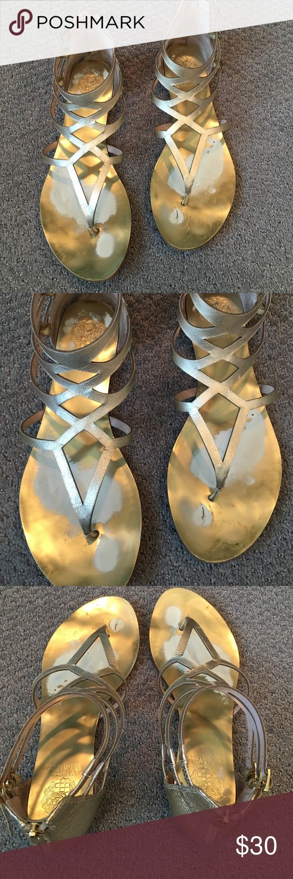 VINCE CAMUTO GOLD GLADIATOR FLATS VINCE CAMUTO GOLD GLADIATOR FLATS. WORN. ZIPPERS UP THE BACK. ONLY WASHED OUT INSIDE ONLY. VERY COMFORTABLE. Vince Camuto Shoes Sandals