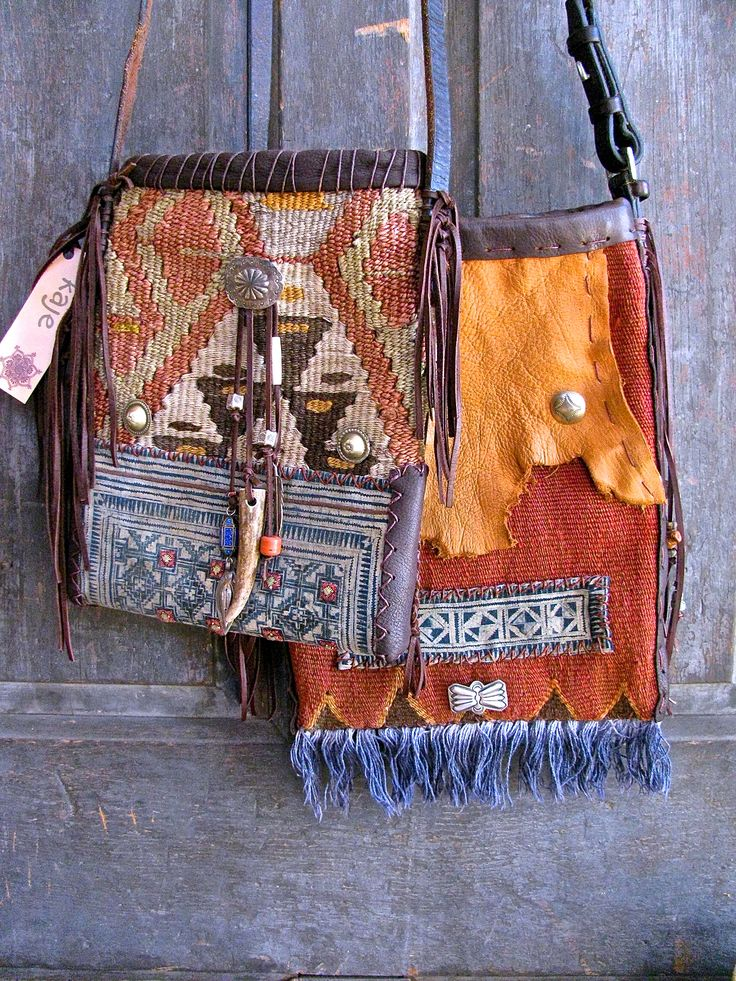 Vintage ethnic textile bags, bridle leather and southwest sterling silver