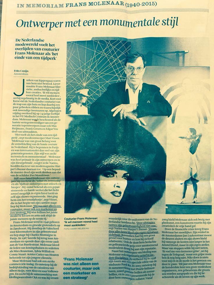 """Mode. """"Frans Molenaar, niet alleen couturier, maar ook marketeer en strateeg."""" FD 13/01/15"""
