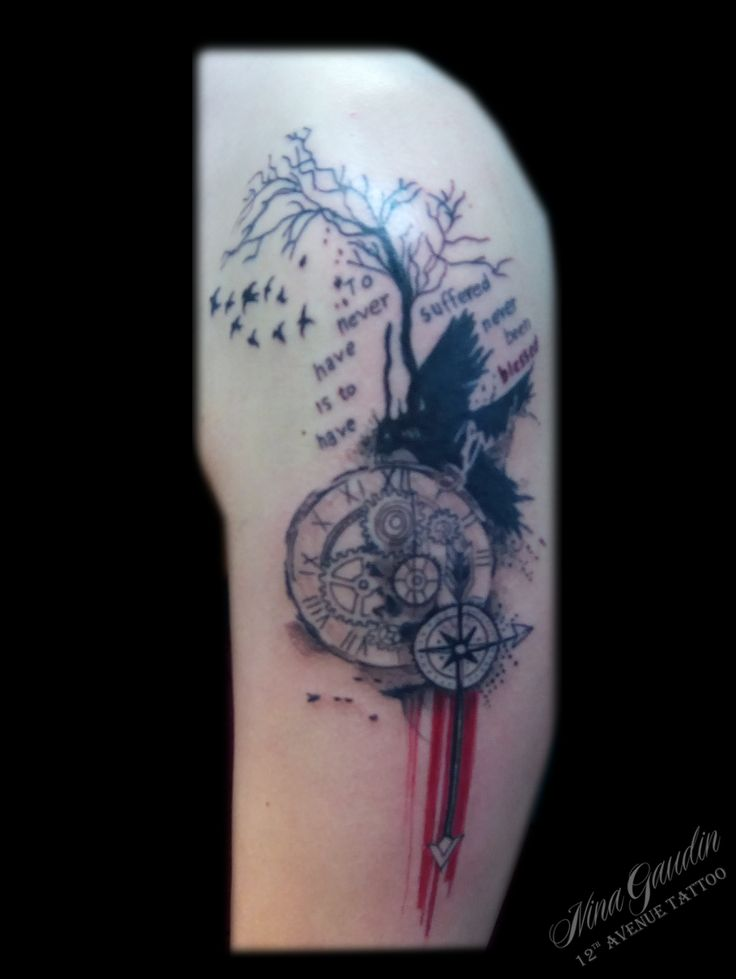 Birds and tree with compass clock words black red - Tattoo by Nina Gaudin of 12th Avenue Tattoo in Nampa, ID