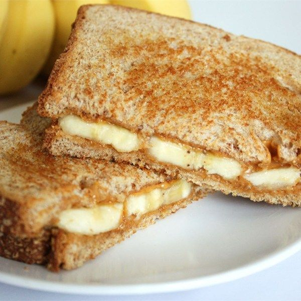 "Grilled Peanut Butter and Banana Sandwich | ""A sweet, warm breakfast idea. Cooked like a grilled cheese, but filled with melted peanut butter and warm bananas."""