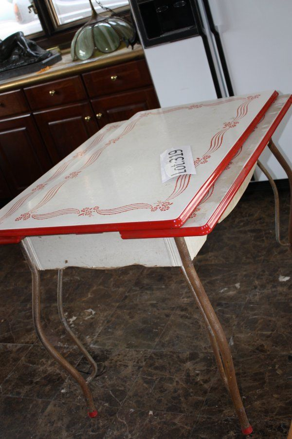 Vintage Enamel Top Kitchen Table | 319: Vintage Enamel Kitchen Table : Lot 319