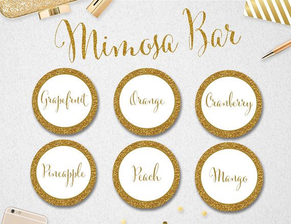 """Printable Mimosa Bar Juice Labels INSTANT DOWNLOAD // 2"""" circles // Wedding // Bridal Shower // Gold // Party"""