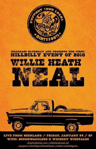 A Hillgrass Bluebilly Show Poster, featuring Willie Heath Neal.