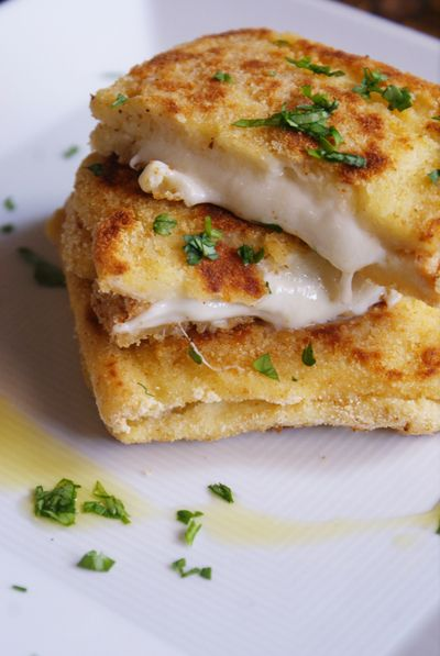 mozzarella sandwich ~ dipped in egg and breaded before frying~