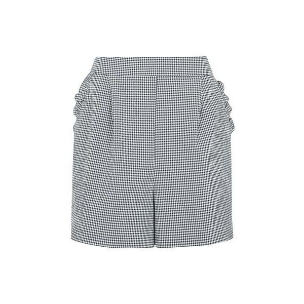 TopShop Gingham Frill Shorts ($60) ❤ liked on Polyvore featuring shorts, monochrome, patterned shorts, high rise shorts, high-waisted shorts, print shorts and party shorts