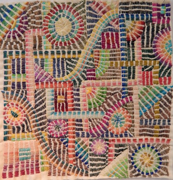 "Kantha style stitching using #5 Perle Cotton, by Debby Schnabel of DebbyQuilts. See detail at https://www.pinterest.com/pin/38702878027555243/   While this ""reads"" as bars of satin stitch, it is actually stacks of running stitch."
