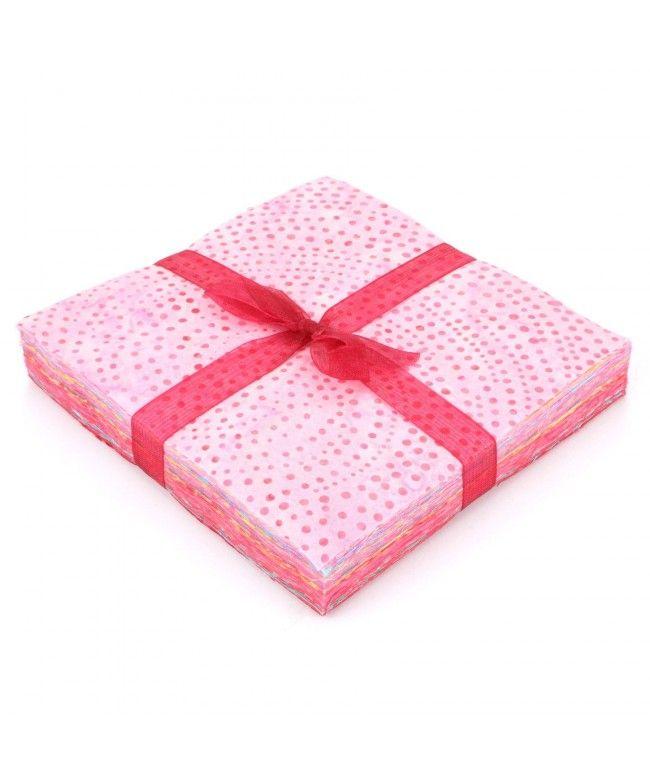 LOUDelephant Cotton Batik Charm Pack Pre Cut Fabric Bundle - Pinks to Reds