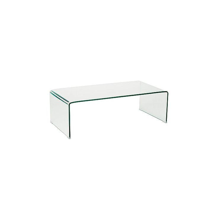 Aurelle Home Amanda Glass Top Rectangle Coffee Table: Ghost Coffee Table Rectangle