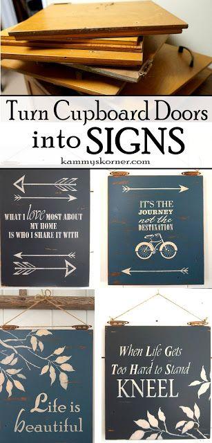 Kammy's Korner: Cupboard Door Signs Using the Hinges To Hang!
