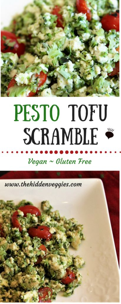 Pesto Tofu Scramble- Sauteing the broccoli. This tofu scramble is vegan, gluten free and dairy free. It makes a great breakfast packed with protein and vitamins. thehiddenveggies.com