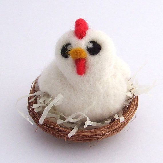 Needle Felted Chicken in Nest White Chicken