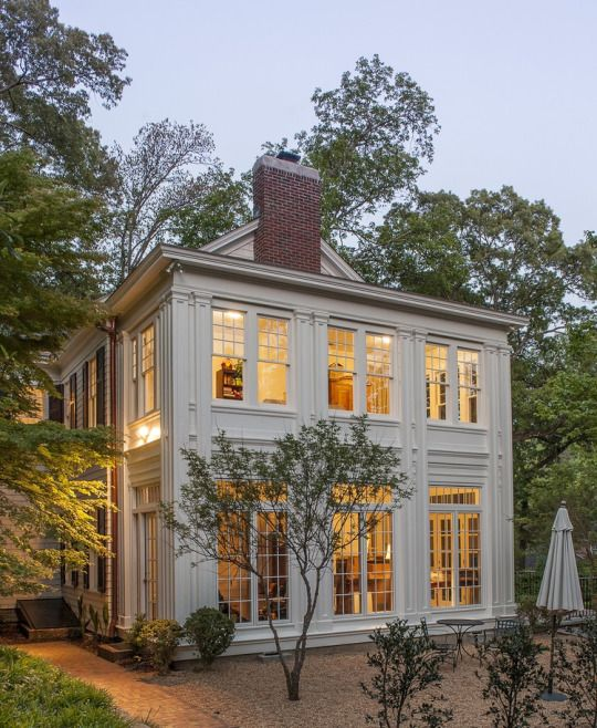 Dream home with tons of large gorgeous windows, transoms, pilasters - classical architecture. LOVE!