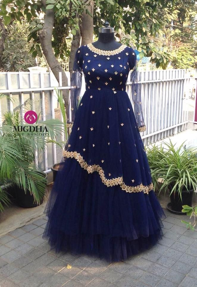 Mugdha bought back your favourite long gowns for this new year.  Beautiful royal blue color long gown with hand embroidery work. They can customise the colour and size as per your requirement.To Order  : whatsapp +91 8142029190/ 9010906544 . 01 January 2018