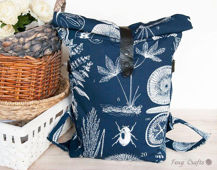 """Купить Дорожный рюкзак """"Ботаника"""" - тёмно-синий, рюкзак, большой рюкзак, дорожный рюкзак, стильный рюкзак"""