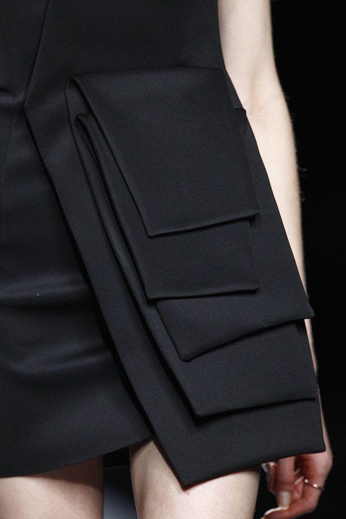 Creative Pattern Cutting - black dress with layered flaps; sewing idea; close up fashion detail // Amaya Arzuaga Fall 2015