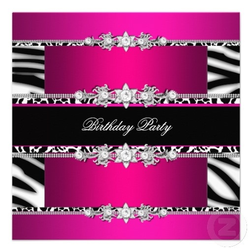 Pink Zebra Print Girls 1st Birthday Invitation: 310 Best Images About Fphasieth Sweet 16 Ideas On Pinterest