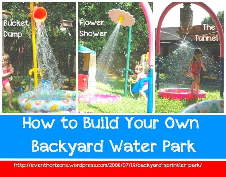 how to build your own backyard water park! this guy has some brilliant  fairly easy ideas on how you can build your own water park contraptions to entertain the kiddos all summer!