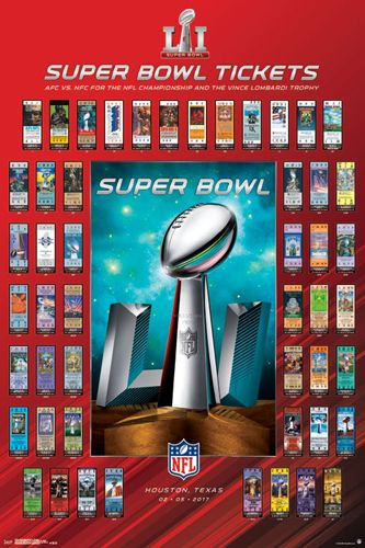 Super Bowl LI (Houston 2017) Official SUPER TICKETS Game History Poster - Trends Intl