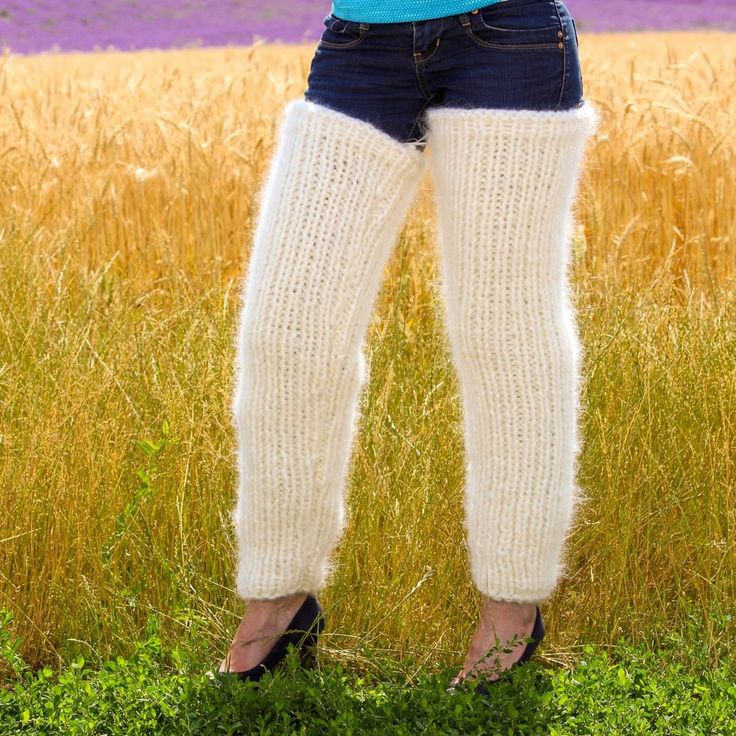 Thick ivory handmade mohair spats hand knit fuzzy gaiters leg warmers SUPERTANYA #SUPERTANYA #Casual