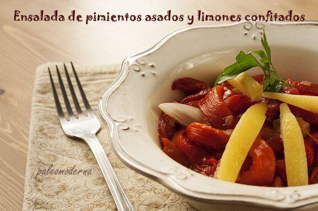 Ensalada de pimientos y limón confitado a la sal. Sencilla receta marroquí #paleo #whole30.   Roasted Peppers with Preserved Lemons. #paleo #whole30