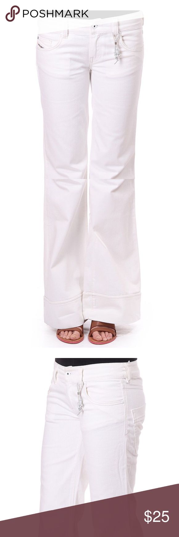 """DIESEL """"Pacee"""" Bootcut Jeans NWT Diesel white denims with flare bottoms! 2 front pockets and 3 back pockets. See last photo for measurements. Diesel Pants Boot Cut & Flare"""