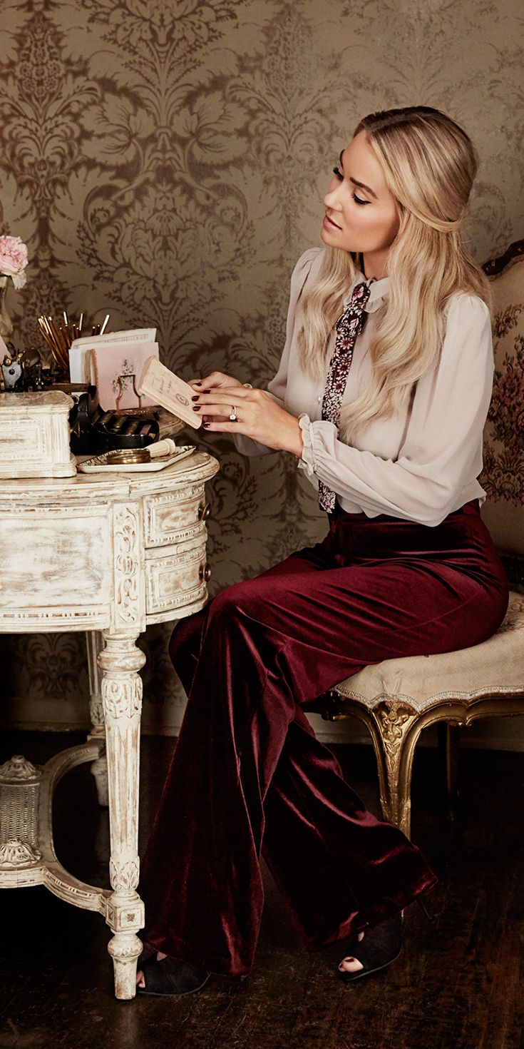 While there's always a hint of menswear inspiration with a wide-leg trouser, this velvet pant in deep burgundy is ultra-femme when paired with a chic chiffon blouse. Shop the complete LC Lauren Conrad Runway Collection at Kohl's.