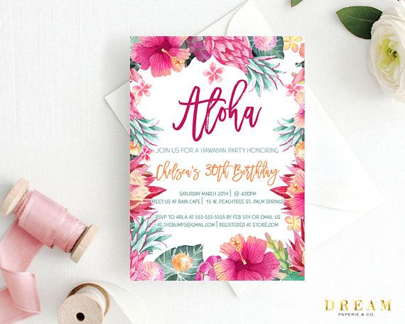 Luau Birthday Invitation Luau Floral Invitation Hawaiian Party Floral Luau Birthday Invitation Aloha Birthday Invitation Luau Birthday Invitations Floral Invitation Bridal Invitations