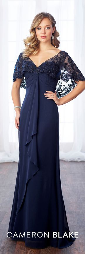 Formal Evening Gowns by Mon Cheri - Fall 2017 - Style No 217643 - navy blue chiffon evening dress with attached scalloped beaded lace capelet