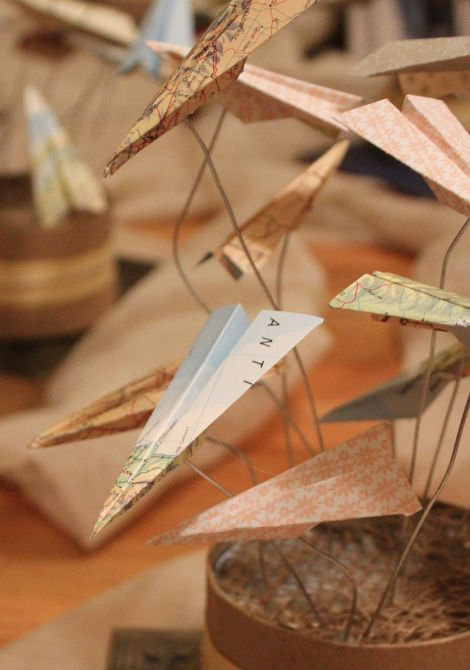 Have Several Boys Make Paper Airplanes Out Of Old Maps Wire And Wooden Base Auction Centerpiece