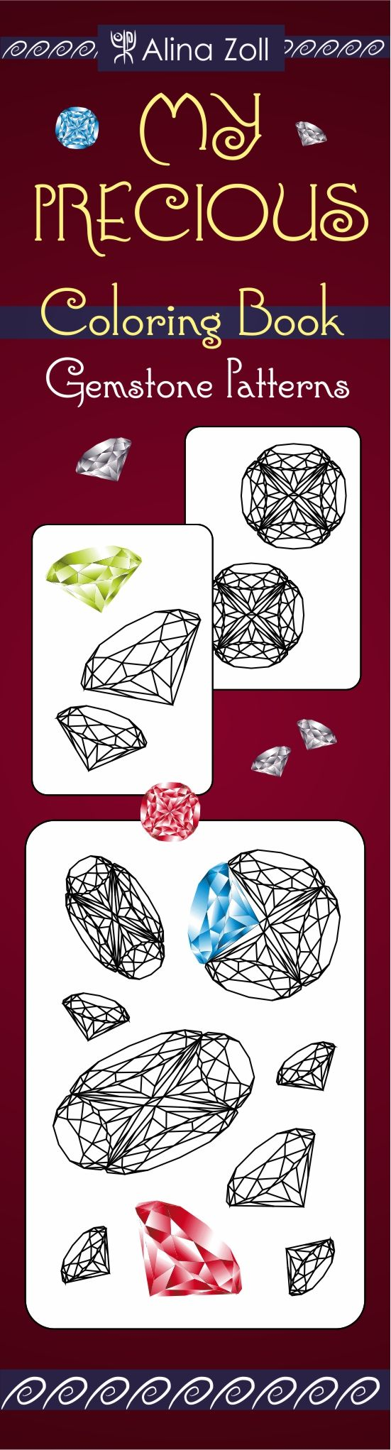 Adult coloring pages, gemstone patterns, diamond drawing pattern. This coloring book also contains gemstone coloring guide. DIY crystal diamond drawing, realistic gemstone drawing. 25 coloring templates, printable. #adult, #coloring, #book, #pages, #pdf, #printables, #tips, #techniques, #tutorials, #diamond, #drawing, #gemstone, #ideas, #easy, #simple, #crystals, #color