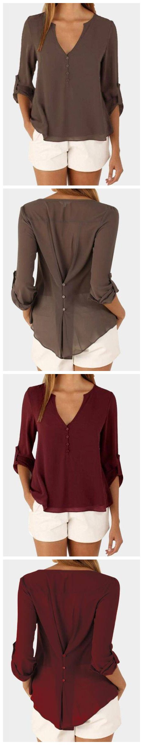 Here is the fashion t-shirt for you. Featuring v neck and irregular hem. Wear this day and night is ok. Perfect with black leggings or casual shorts.