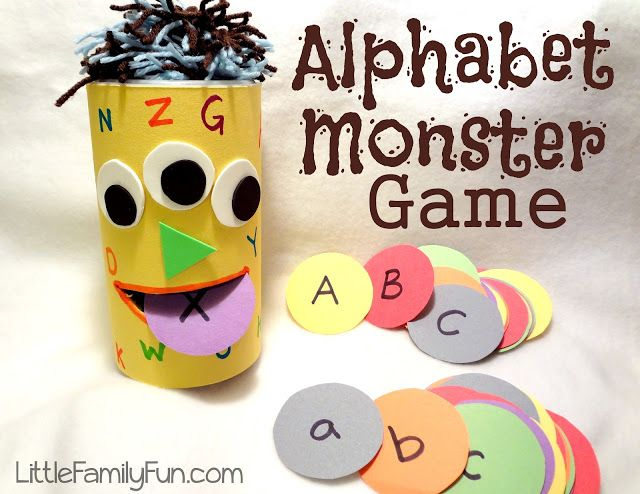 Alphabet Monster Game: Make the monster with empty canister (oatmeal, etc.), cut out mouth and add letters and face.  Then say a letter in a silly monster voice and have child feed the monster the letter. Chomp!