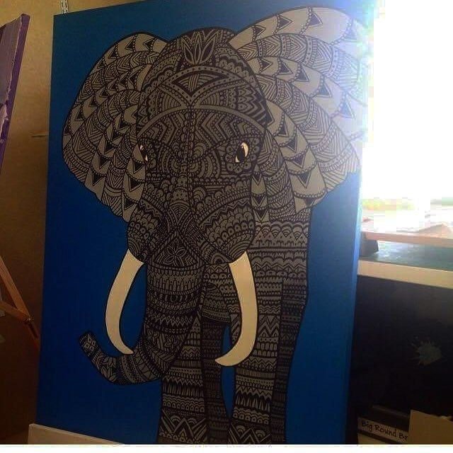 Acrylic & Henna elephant  #acrylic #henna #pen #art
