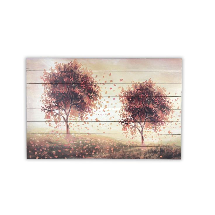 USA 'Amber Trees' Multicolor Wood Wall Art