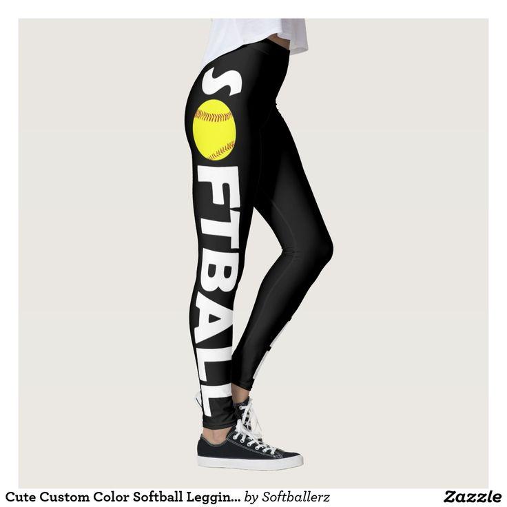 Cute Custom Color Softball Leggings! #softball #leggings