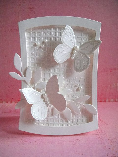 All white butterfly card