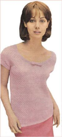 Patterned Pullover Top Vintage Knitting Pattern for download - To fit Bust 34, 36, 38 inches