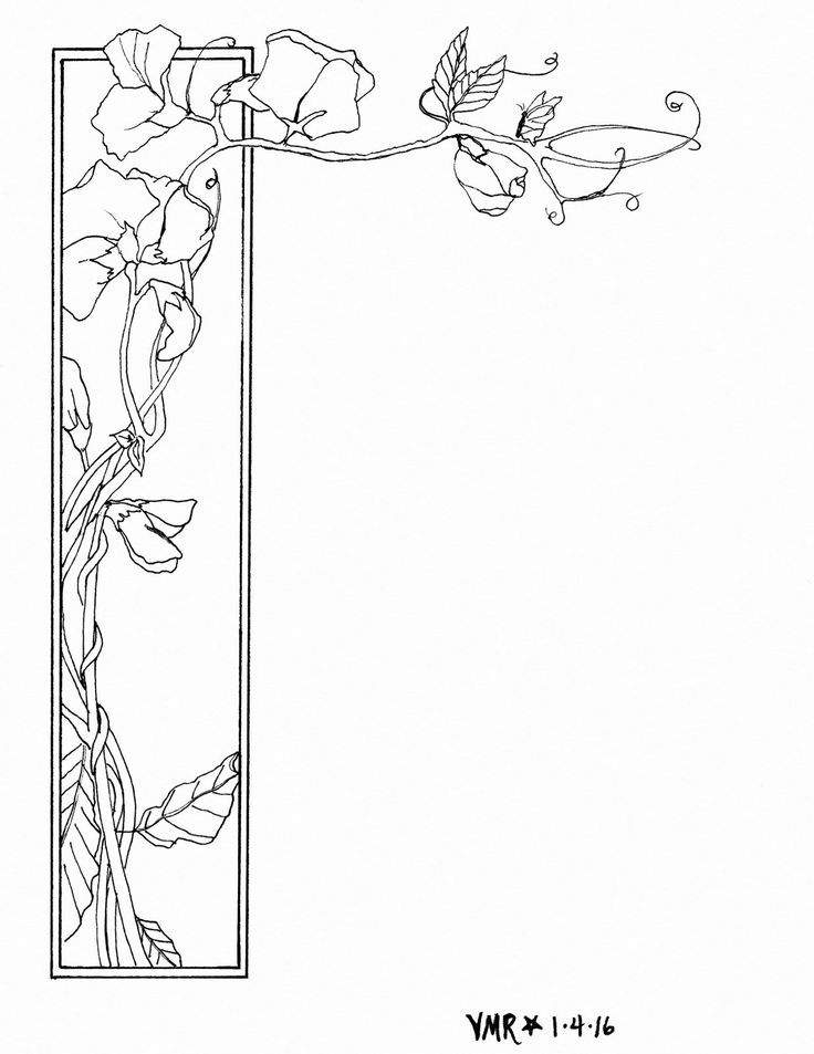Sweet pea border ready to color and use for a card or for Sweet pea coloring pages