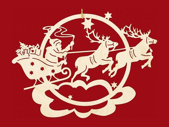 Taulin Fensterbild Weihnachten Rentierschlitten mit Weihnachtsmann - klein