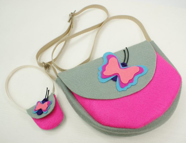Handmade. Grey-pink felt bag with a butterfly. Girls and dolls accessories.