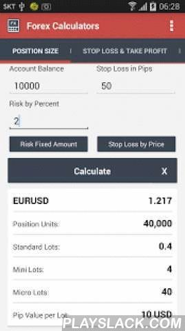 Forex Calculators  Android App - playslack.com ,  Forex Calculators include:+Position Size Calculator+Stop Loss & Take Profit Calculator+Risk Reward Calculator+Margin Calculator+Pip Value CalculatorRisk management consider to be one of the most important skills in Forex trading. Proper position sizing is the key to managing risk in a single trade. Position Size Calculator will help you find out the amount of units/lots to put on a single trade based on your risk amount/percentage and…