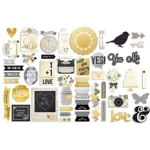 Simple Stories The Story of Us Bits & Pieces Wedding Scrapbook Embellishments - 11 Main