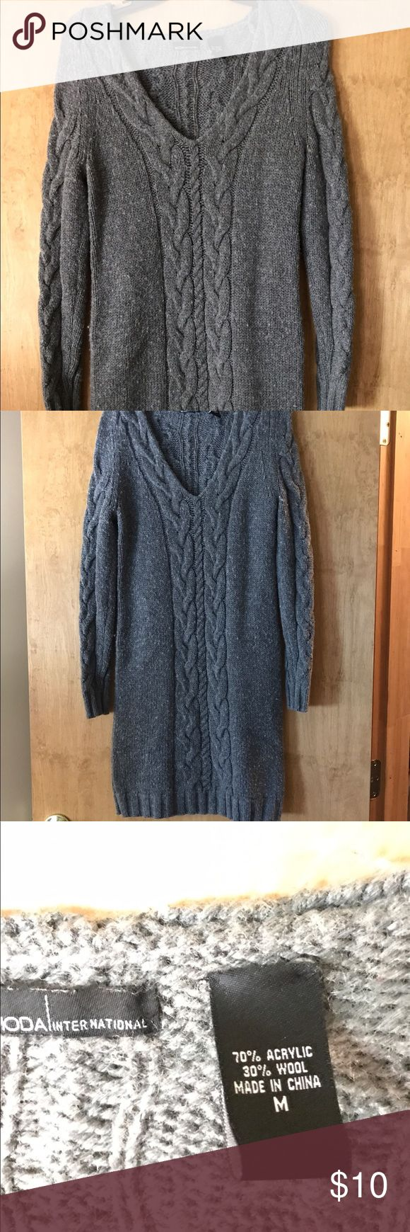 Grey sweater dress Cute sweater dress hits right above the knee! Moda International Dresses Midi