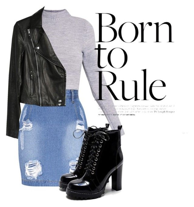 """""""Born to rule"""" by danickaroetz on Polyvore featuring Paige Denim, Leather, Boots and denimskirt"""