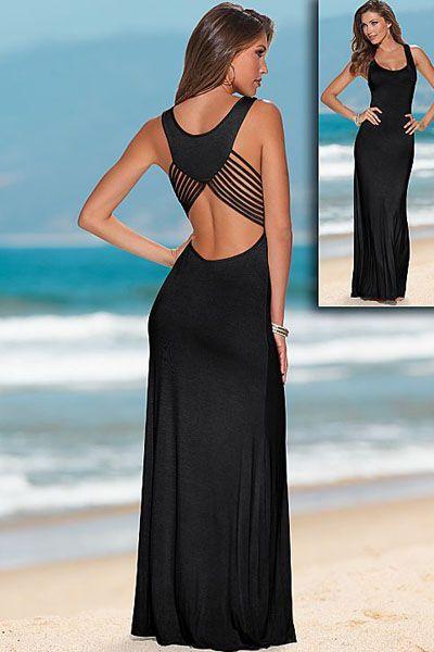 vestido largo verano online barato negro de fiesta sexy!