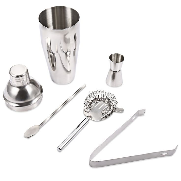 Hot Selling A++ 5pcs Cocktail Shaker Set 750ml Professional Stainless Steel Cocktail Maker Ice Strainer Clip Spoon Bar Tools