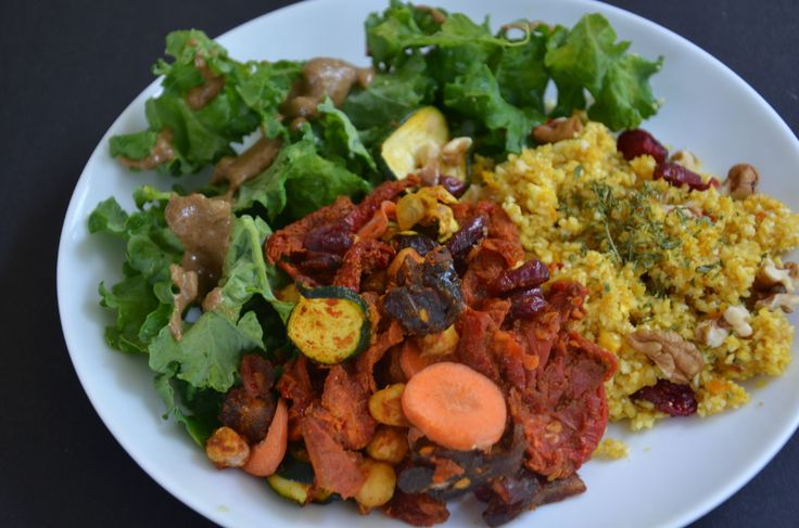 Raw Moroccan Vegetable and Chickpea Stew with Spicy Orange Cauliflower Couscous | One Green Planet